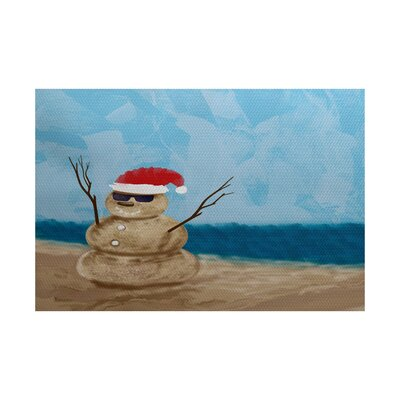 Snowman Taupe Indoor/Outdoor Area Rug Rug Size: 5 x 7