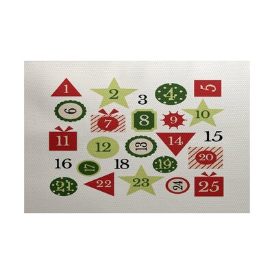 Advent Calendar Red Indoor/Outdoor Area Rug Rug Size: Rectangle 3 x 5