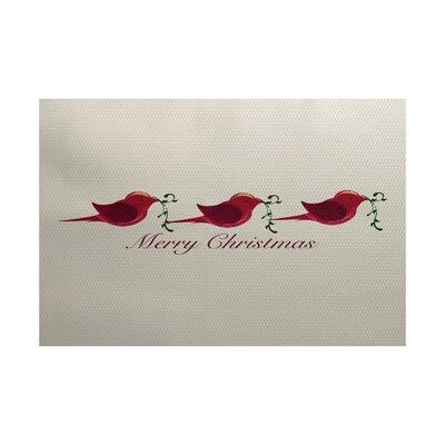 Merry Christmas Beige & Red Indoor/Outdoor Area Rug Rug Size: 2 x 3