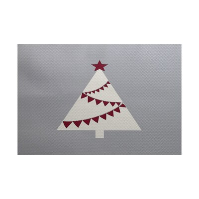Christmass Tree Gray Indoor/Outdoor Area Rug Rug Size: Rectangle 2' x 3'
