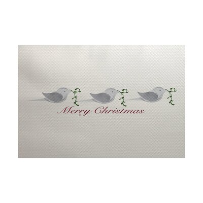 Merry Christmas Gray Indoor/Outdoor Area Rug Rug Size: 5 x 7