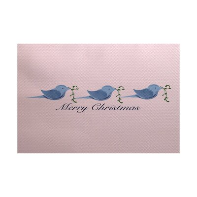 Merry Christmas Pink & Blue Indoor/Outdoor Area Rug Rug Size: 4 x 6