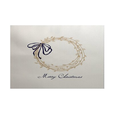 Merry Wishes Word Print Gray Indoor/Outdoor Holiday Area Rug Rug Size: 4 x 6
