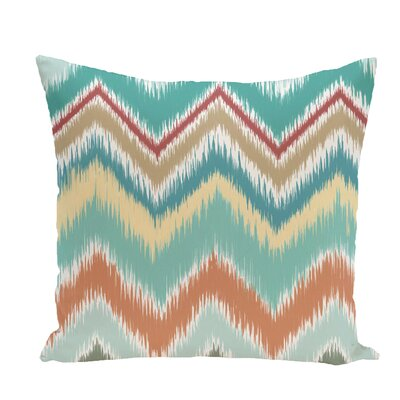 Ikat-Arina Chevron Print Throw Pillow Size: 18 H x 18 W x 1 D, Color: Jade