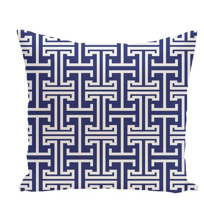 Greek Isles Geometric Print Throw Pillow Size: 18 H x 18 W x 1 D, Color: Blue Suede