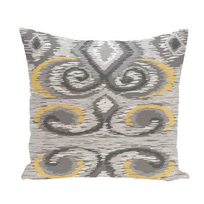 Ikats Meow Geometric Print Throw Pillow Size: 16 H x 16 W x 1 D, Color: Paloma