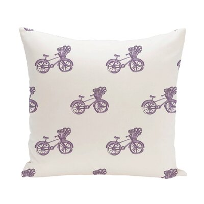 Bicycles! Geometric Print Throw Pillow Size: 26 H x 26 W x 1 D, Color: Hyacinth