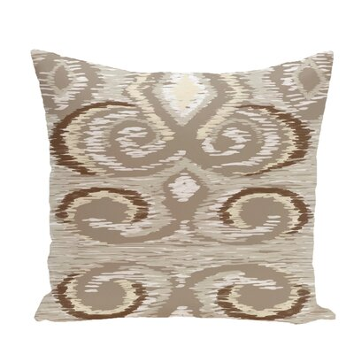 Ikats Meow Geometric Print Throw Pillow Size: 16 H x 16 W x 1 D, Color: Flax