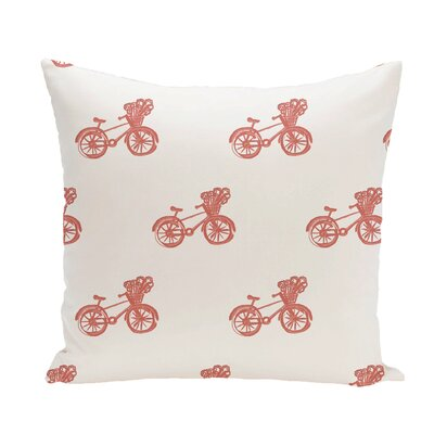 Bicycles! Geometric Print Throw Pillow Size: 18 H x 18 W x 1 D, Color: Seed