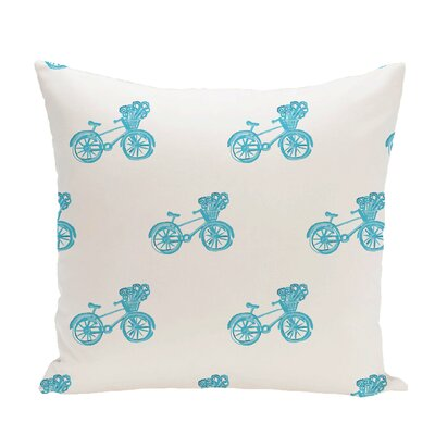 Bicycles! Geometric Print Throw Pillow Size: 26 H x 26 W x 1 D, Color: Turquoise
