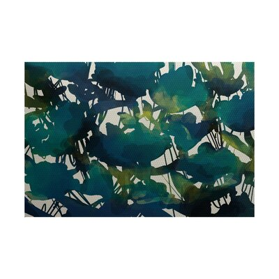 Kam Floral Teal Indoor/Outdoor Area Rug Rug Size: 2' x 3'