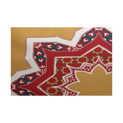 Soluri Gold /Red Indoor/Outdoor Area Rug Rug Size: 3 x 5