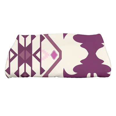 HH Revival Bombay 6 Geometric Print Bath Towel Color: Purple