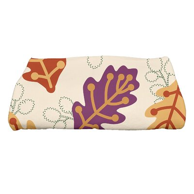 Flipping for Fall Retro Leaves Floral Print Bath Towel Color: Purple