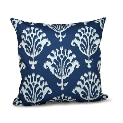 Floral Motifs Decorative Down Throw Pillow Size: 18 H x 18 W, Color: Navy Blue