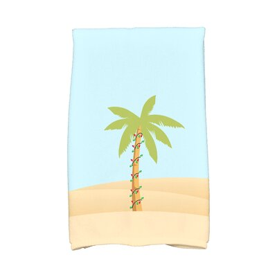 Coastal Christmas Palm Tree with Christmas Lights Hand Towel Color: Light Blue