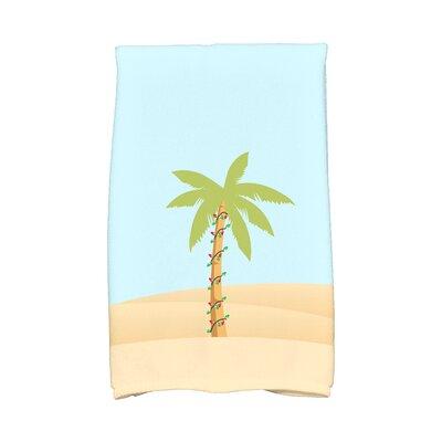 Coastal Christmas Palm Tree with Christmas Lights Hand Towel Color: Light Blue