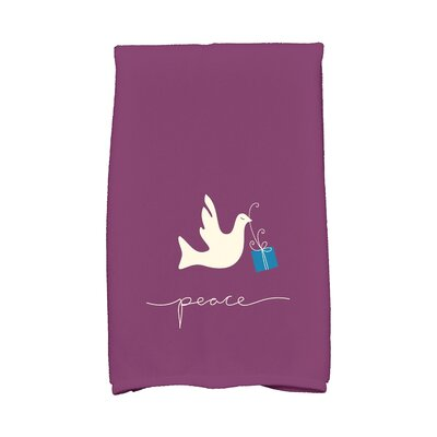 Coastal Christmas Peace Dove Hand Towel Color: Purple