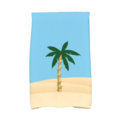 Coastal Christmas Palm Tree with Christmas Lights Hand Towel Color: Blue