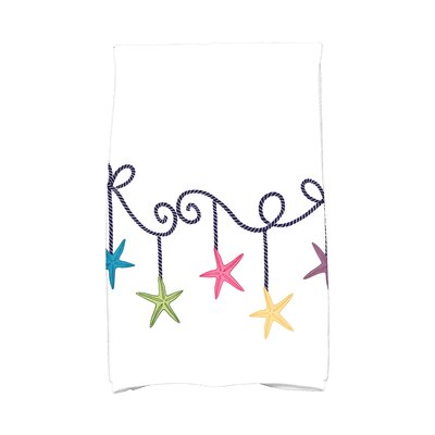 Coastal Christmas Starfish Ornaments Hand Towel Color: Blue