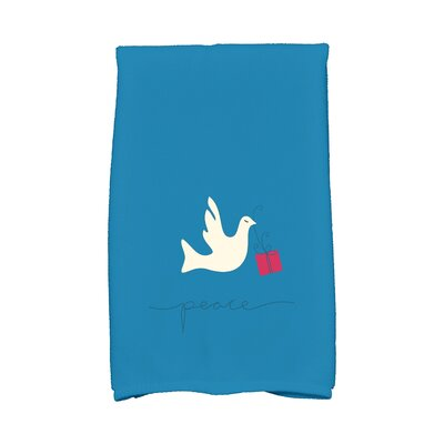 Coastal Christmas Peace Dove Hand Towel Color: Teal