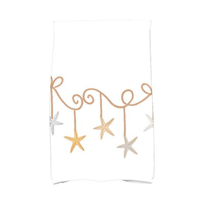 Coastal Christmas Starfish Ornaments Hand Towel Color: Gold