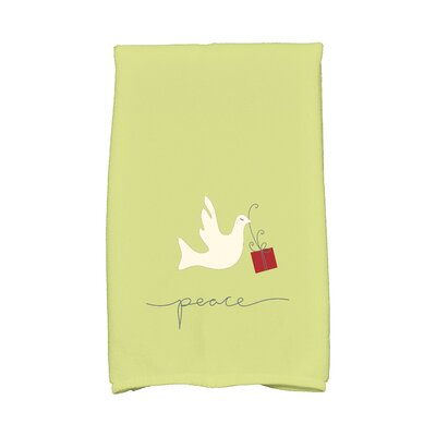 Coastal Christmas Peace Dove Hand Towel Color: Green