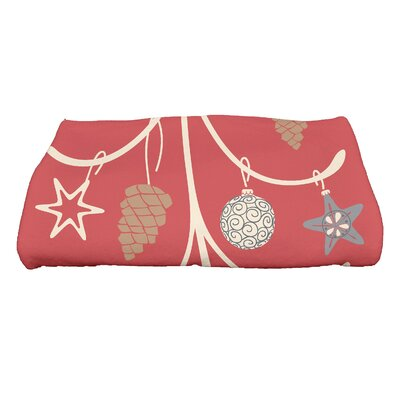 Coastal Christmas Pinecone Tree Bath Towel Color: Coral