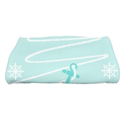 Coastal Christmas Holiday Anchor Bath Towel Color: Aqua