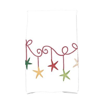 Coastal Christmas Starfish Ornaments Hand Towel Color: Cranberry
