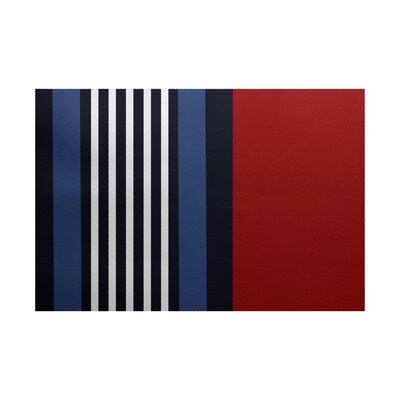 Bartow Red/Black/Blue Indoor/Outdoor Area Rug Rug Size: 3 x 5