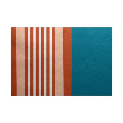 Bartow Blue/Orange Indoor/Outdoor Area Rug Rug Size: 3 x 5