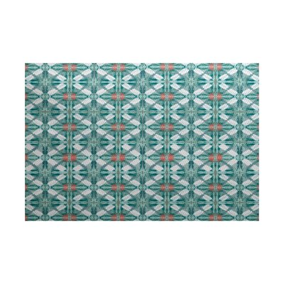 Viet Flat Woven Green Geometric Indoor/Outdoor Area Rug Rug Size: 3 x 5