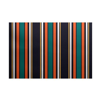 Petersfield Orange/Black Area Rug Rug Size: 5 x 7