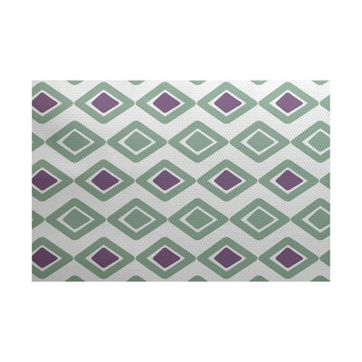 Abbie Geometric Green/Purple Indoor/Outdoor Area Rug Rug Size: 4 x 6