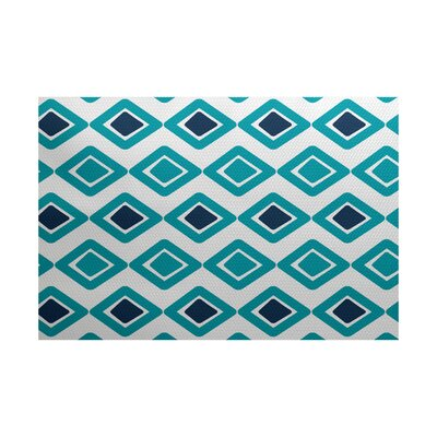 Abbie Flat Woven Diamond Blue Indoor/Outdoor Area Rug Rug Size: 2 x 3