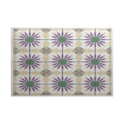 Abbie Green/Purple Indoor/Outdoor Area Rug Rug Size: 5 x 7