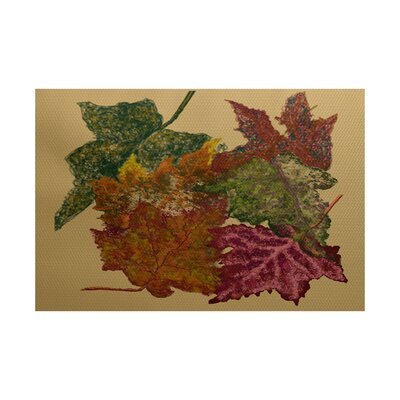 Tremblant Autumn Leaves Flower Print Gold Indoor/Outdoor Area Rug Rug Size: 3 x 5