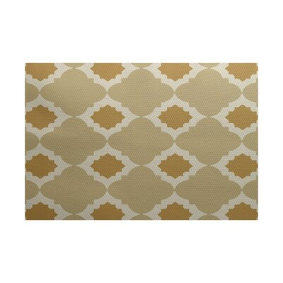 McGuinness Geometric Print Gold Indoor/Outdoor Area Rug Rug Size: 2 x 3
