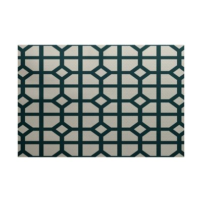 Bertrand Geometric Print Teal Indoor/Outdoor Area Rug Rug Size: 2 x 3