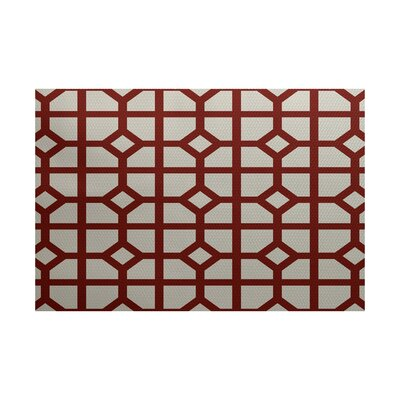 Bertrand Geometric Print Orange Indoor/Outdoor Area Rug Rug Size: 3' x 5'