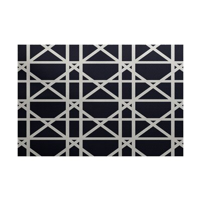 Durant Trellis Geometric Print Navy Blue Indoor/Outdoor Area Rug Rug Size: 4 x 6