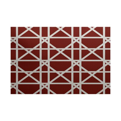 Clewiston Trellis Geometric Print Orange Indoor/Outdoor Area Rug Rug Size: 2 x 3