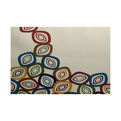Cotner Falling Leaves Geometric Print Cream/Multi Indoor/Outdoor Area Rug Rug Size: 3 x 5