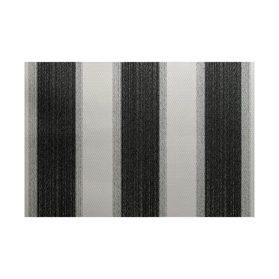 Babineau Stripe Print Black Indoor/Outdoor Area Rug Rug Size: Rectangle 2 x 3