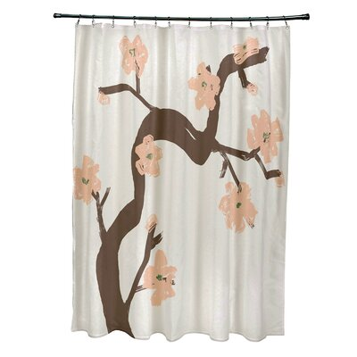 Floral Shower Curtain Color: Peach