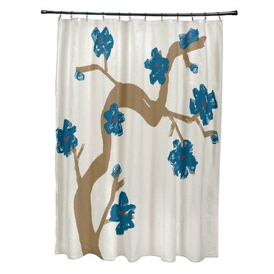 Floral Shower Curtain Color: Teal