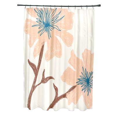 Floral Shower Curtain Color: Bisque / Peach