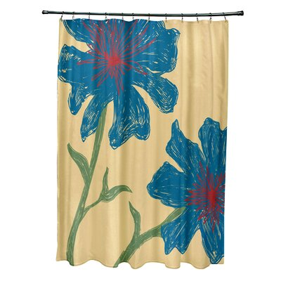 Floral Shower Curtain Color: Emperor / Teal