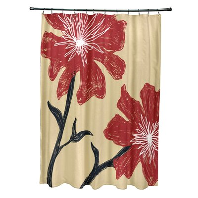 Floral Shower Curtain Color: Ginger / Dragon